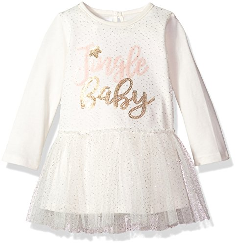 Mud Pie Baby Girls' Christmas Jingle Long Sleeve Mesh Overlay Tutu Dress, Ivory, 9-12 MOS