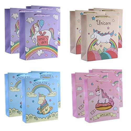 UNIQOOO 12PC Cartoon Rainbow Magic Unicorn Gift Bag Bulk,12.5