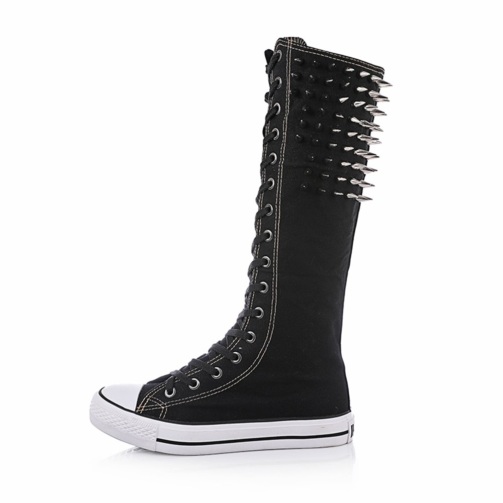 Punk Style Rivet High Top Sneakers Knee High Zipper Lace Up Boots Canvas Shoes Cool For Women & Girls