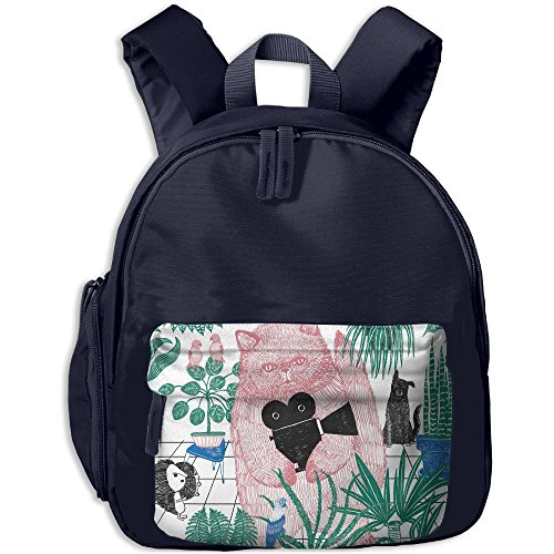 Baby Child Cat Concentration Camp Preschool Shoulder School Bag Navy by Fashion Theme Tshirt