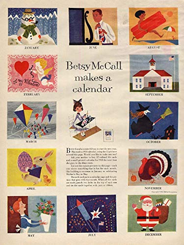 Betsy McCall makes a calendar paper doll page 1958 McCall's from The Jumping Frog