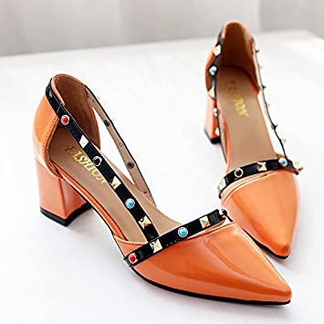 a0048562bb654a LGK FA Summer Women S Sandals Summer Pointed Shallow Sandals High Heels  Fashionable Heel Shoes 39 Orange