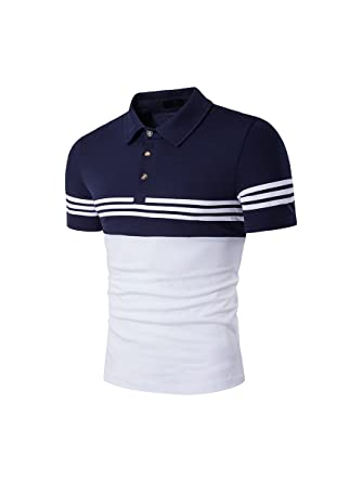 HerZii Camisetas Polos Camisas Con Rayas Moda Corta Manga para Hombre (XXL, Blanco): Amazon.es: Ropa y accesorios