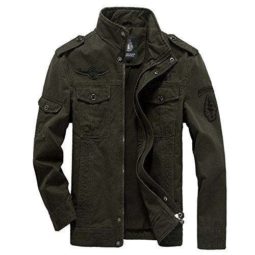Kolongvangie Military Cotton Military Style Zip-Front Bomber Causal Jackets Air Force Army Jacket