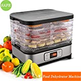 Food Dehydrator Machine, Professional Multi-Tier Electric Fruit Dehydrator with 5 Stackable Trays, Digital Temperature Settings and Timer for Meat Beef Fruit Dryer (Black(food dehydrator with timer))