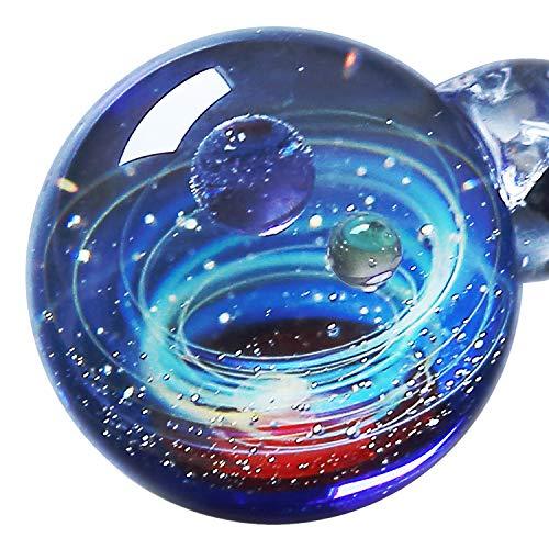 Marble Pendant Necklace - Pavaruni Original Galaxy Pendant Necklace, Universe Glass Accessories, Space Cosmos Design,Birthday (Minerva)