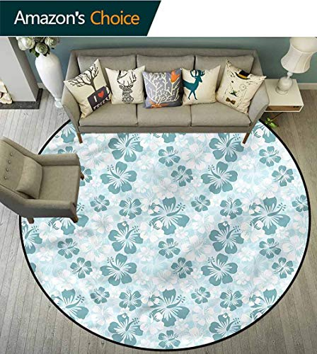 Lift Silhouette - RUGSMAT Hawaii Super Soft Circle Rugs for Girls,Faded Flower Silhouettes Lifts Basket Swivel Chair Pad Coffee Table Rug Round-71