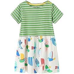 Fiream Girls Dresses,Short Sleeve Summer Cotton Striped Cute Print Pattern Casual Dress For Toddler(154Green,2T/2-3YRS)