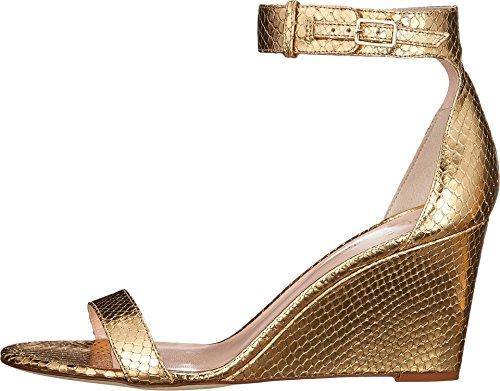 Kate Spade New York Donna Ronia Sandalo Con Zeppa In Pelle Stampata Pitone Metallizzato Oro