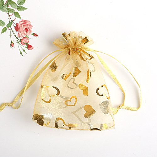 Tovip 100PCS 3.5x4.5'' (9x12cm) Organza Bags Jewelry Wedding Favors Party Pattern Printed Drawable Packaging Display & Gift Pouches (Gold - Jewelry 1/2 Bags 4
