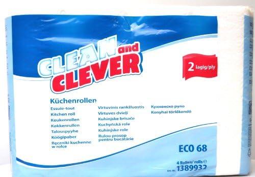 ECO68 Küchenrolle 2lg 26x22cm CLEAN and CLEVER 4 Rollen Folienpaket