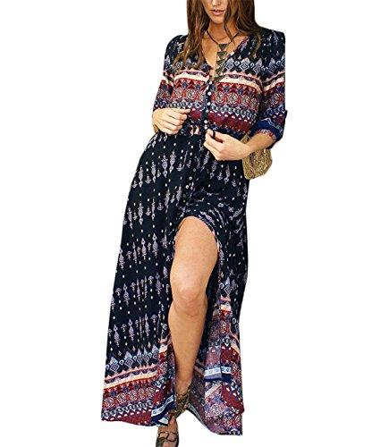 Vestido Largo de Mujer Estilo Boho V Cuello Floral 3/4 Manga Tie-cintura Hendidura Lateral Traje Maxi de Retro de Florales Impresa Vestidos Playa Vacaciones Talla Grande Vestidos Negro
