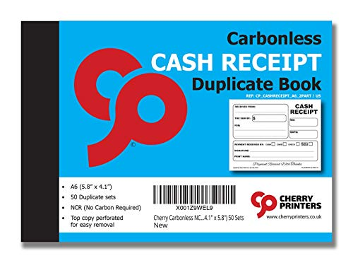 Cherry Carbonless Money Receipt Book, 2-Part, with Loose-Leaf Writing Shield, A6 (4.1 x 5.8 Inches) 50 Sets, Unnumbered ()