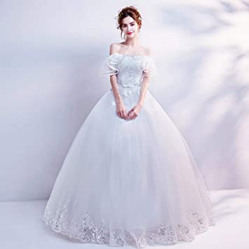 YT-ER Vestido de Novia de Gasa Blanca Elegante Vestido de Encaje Palabra sin Mangas