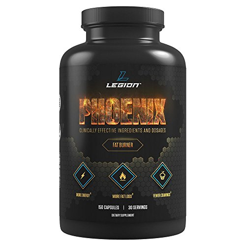 Legion Phoenix Caffeine Free Fat Burner Supplement - All Natural Thermogenic Weight Loss Pills, Metabolism Booster & Appetite Suppressant. Safe & Healthy. 30 Servings.