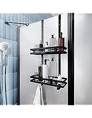PEALOV Douchemand om op te hangen, van roestvrij staal, om op te hangen aan de douchedeur, hoekrek met stevige zuignap en haak voor badkamer en keuken, slechts één laag