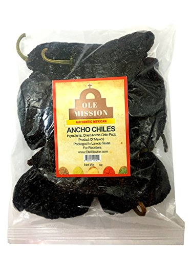 Dried Ancho Chiles Peppers 4 oz, Great For Sauce, Chili, Stews, Soups, Mole, Tamales, Salsa and Mexican Recipes By Ole Mission ()