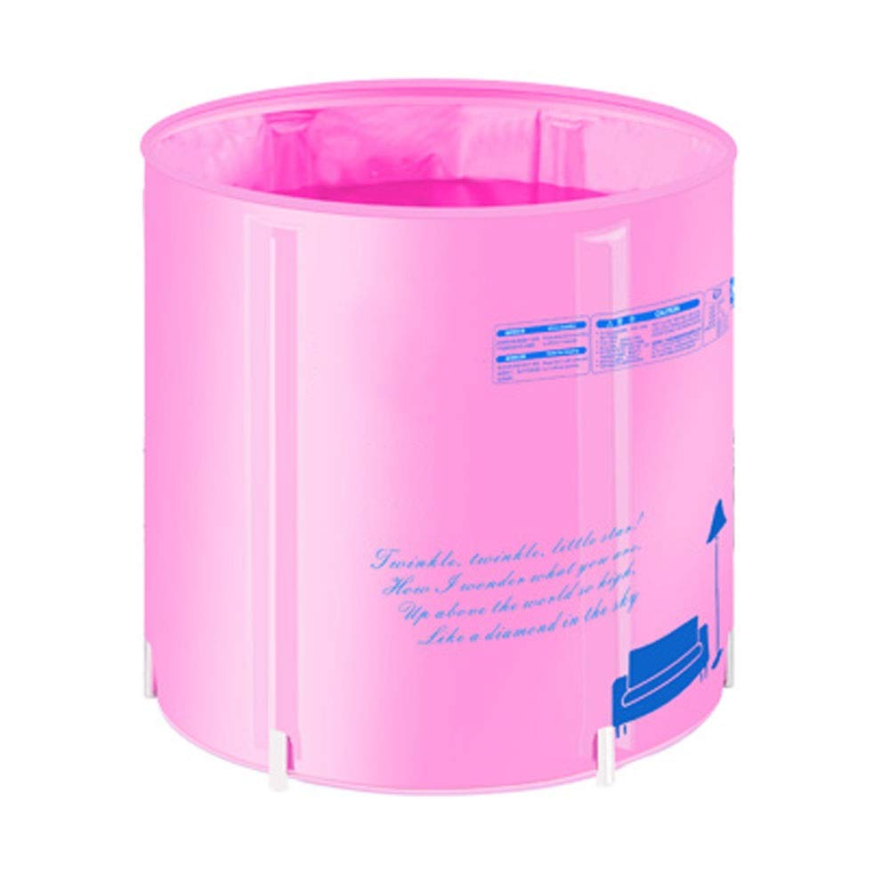 ZK Quilted Insulation Can Be Raised and Lowered Folding Bath Barrel Bath Inflatable Bathtub Adult Bath Tub,Light Bath Barrel,2 Colors (Color : Pink)