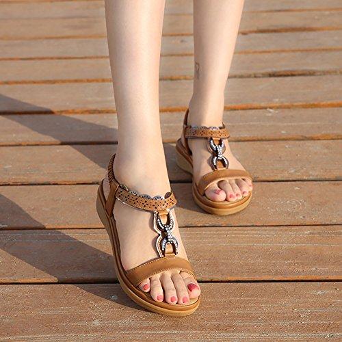 c1db90c7456d Wollanlily Women Summer Beach Flat Sandals Bohemia Flip-Flop Ankle Strap  Thong Shoes