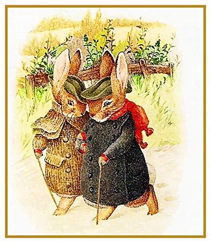 Peter Stitch Pattern Cross Rabbit (Peter Rabbit Winter Walk Inspired by Beatrix Potter Counted Cross Stitch Pattern)