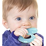 Nuby Teethe-eez Soft Silicone Teether with Bristles, Agua (Aqua), 0 Plus Months