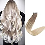 Full Shine 16 Inch 20Pcs Ombre Hair Extensions Tape In Color #8 Ash Brown Fading To Color #60 Platinum Blonde Tape In Adhesive Blonde Hair 40g