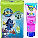 Huggies Little Swimmers Disposable Swim Diapers, Small, 12-Count (15lb-34lb.), with Banana Boat Baby Sunscreen Lotion SPF 50, 8 Ounce