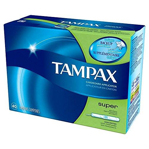 Tampax Cardboard Applicator Tampons, Super Absorbency 40 ea