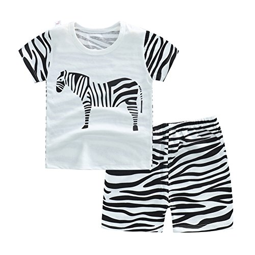 Quoxiao Zebra Baby Boys Short Pajamas Set Kids Short Sleeve Sets Clothes Set 100% Cotton Size 2-3 Years (Boyshort Zebra)