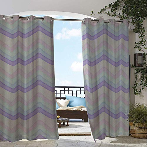 (Linhomedecor Outdoor Waterproof Curtain Irregular Ripple Porch Grommet Printed Curtain 120 by 96 inch)