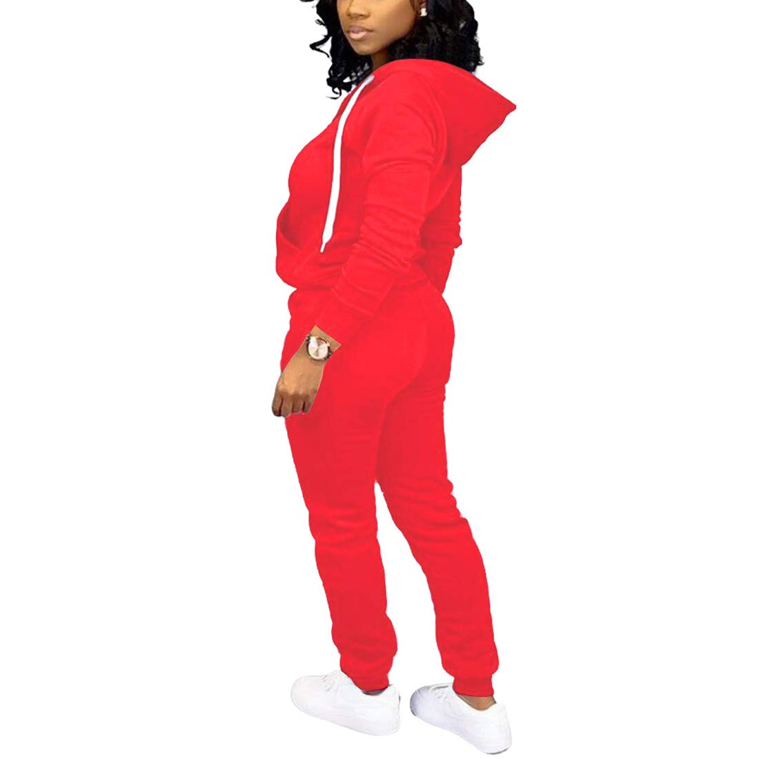 Nimsruc Womens 2 Piece Tracksuit Long Sleeve Casual Patchwork Pants Set