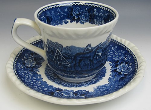 - Adams China ENGLISH SCENIC BLUE SCALLOPED Cup and Saucer Set(s) EXCELLENT