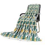 "socolala Blanket Teal,Moroccan Interlacing Star Pattern Ethnic Asian Ornamental Mosaic Design Traditional,Teal Marigold Picnic Blanket Size:50""x60"""