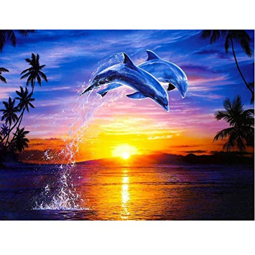 - MXJSUA DIY 5D Diamond Painting by Number Kits Full Round Drill Rhinestone Embroidery Cross Stitch Picture Art Craft Home Wall Decor Dolphin Love 12x16In