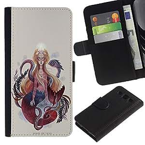 KingStore / Leather Etui en cuir / Samsung Galaxy S3 III I9300 / Pintura Mujer Serpiente Serpiente Espiritualidad Arte
