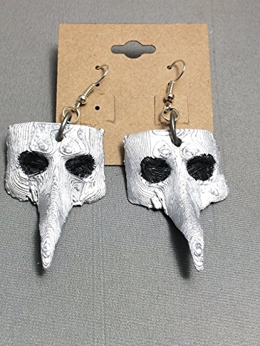SALE! Plague Doctor Earrings, Plague Doctor Mask, Battered Plague Doctor, steampunk, cosplay, 3D printed, Plague Doctor mask, artisan, Handcrafted, unique design, (Steam Sale Halloween)