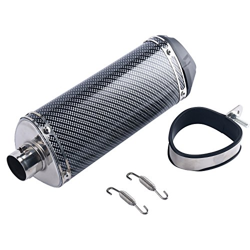 "Price comparison product image 8MILELAKE 1.5"" Inlet Slip On Exhaust Muffler With Removable DB Killer Slip For Dirt Street Bike Motorcycle Scooter Carbon Fiber Color"