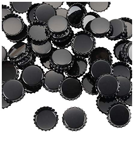 Bottle Caps- 120-Pack Craft Crown Bottle Caps, Decorative Bottle Caps, Perfect for Jewelry Making, Hairbows, Pendants DIY, Scrapbooking, Black, 1 Inch Diameter