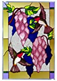 Hummingbirds Wisteria Vertical Art Glass Panel 20 x 14