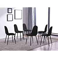IDS Eames Style Dining Chairs Fabric Cushion Seat Side Chair Armless Living Room Chairs Set of 6 (Black)