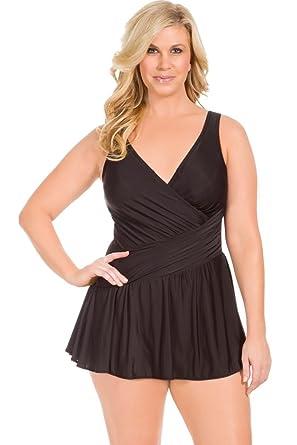 285f749fadc Amazon.com: Miraclesuit Plus Size Black Aurora Surplice Swimdress ...