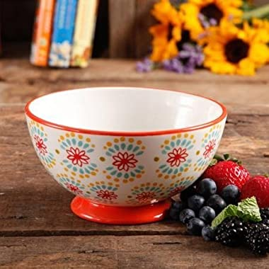 The Pioneer Woman Flea Market 6  Decorated Footed Bowls, Multi Burst Red, Set of 4