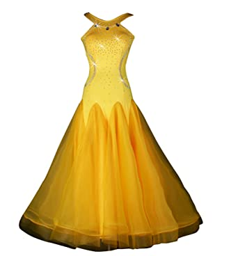 3c056cad6d7c9 YC WELL Women Modern Waltz Tango Smooth Ballroom Dance Dress Standard  Ballroom Dress(Yellow,