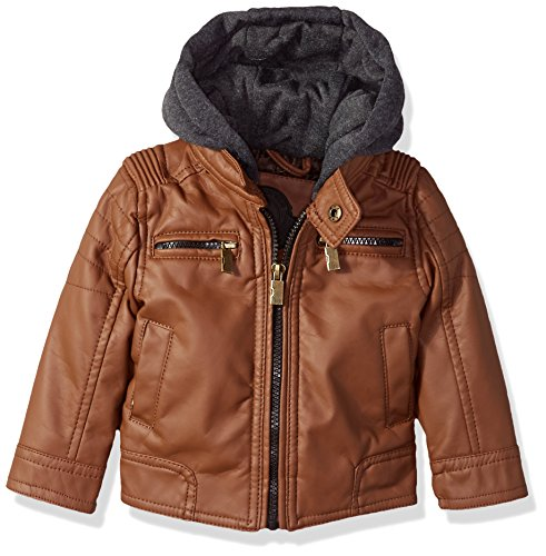(Urban Republic Baby Boys Faux Leather Jacket Quilted Sleeves, Cognac, 24M)