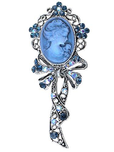 Alilang Beautiful Blue Sapphire AB Crystal Rhinestone Cameo Maiden Ribbon Bow Pin Brooch