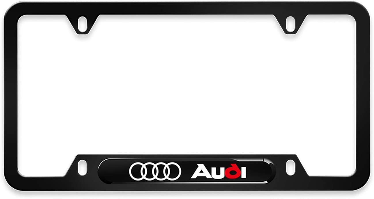 Matte Black for Mercedes Benz AMG 2Pcs Newest Custom Personalized 4 Hole Matte Aluminum alloy AMG Logo License Plate Frame with Screw Caps Cover Set,Applicable to US Standard car License Frame .