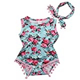 Cute Adorable Floral Romper Baby Girls Sleeveless Tassel Romper One-pieces +Headband Sunsuit Outfit Clothes (6-12 Months, Sky blue)
