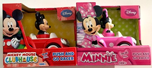 (Disney Mickey Mouse and Minnie Mouse Push and Go Racer 2-Car Bundle)
