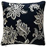 TINA'S HOME French Country Floral Decorative Throw Pillows Down Feather Filling | Plain Square Accent Pillows Living Room Sofa Couch Bed Decor (18 x 18 inches, Navy Blue)