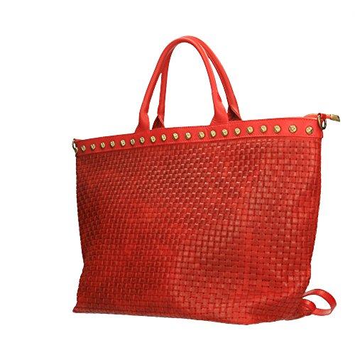 avec in 53x34x20 Cm Sac Rouge Italy véritable cuir en en bandoulière cuir à main Chicca imprimé Borse Made tressé TYaYR7wq